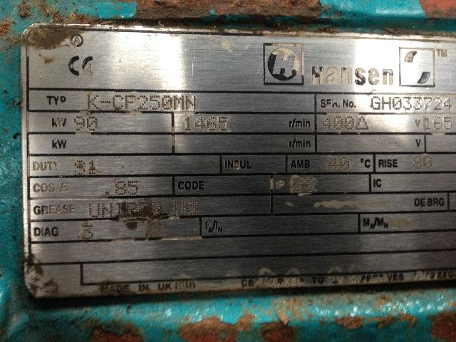 Hansen 90kw Electric Motor For Sale 1500 Used Plant